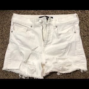 express white denim shorts with distressing